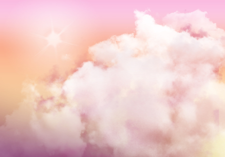 3D illustration graphic clouds orange pink sky with sunlight. Idea of nature, scenery, heaven, fluffy, ozone, religion, clear, natural. Wallpaper design template background Stock fotó