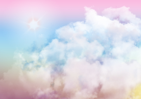 3D illustration graphic clouds colorful sky with sunlight. Idea of nature, scenery, heaven, fluffy, ozone, religion, clear, natural. Wallpaper design template background Stock Photo