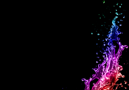 3D blue, pink and purple gradient water splash over black background. Graphic wallpaper template Stock fotó