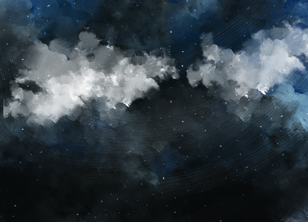 illustration drawing of dark night sky. Graphic painting of starry night. Watercolor drawn sky template background wallpaper. Stock fotó