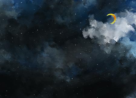illustratie tekening van donkere nachtelijke hemel. Grafisch schilderij van Sterrennacht. Waterverf getrokken van het hemelmalplaatje behang als achtergrond. Maanlicht, halve maan, maan, droom. Stockfoto