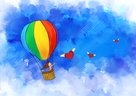 illustration drawing of girl travel in colorful hot air balloon flying in blue sky. Flying heart with wings. Idea of freedom, love, imagination, & adventure template design wallpaper background
