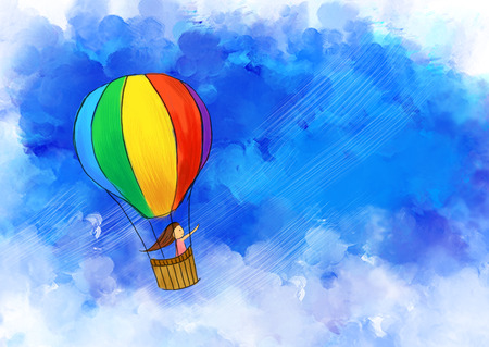 illustration drawing of girl travel in colorful hot air balloon flying in blue sky. Idea of freedom, art, vacation, happy, journey, imagination, fun & adventure template design wallpaper background