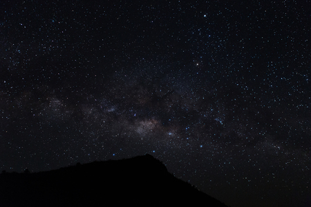 vulpecula: milky way night scene with mountain.