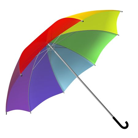 3d rendered opened rainbow-colored umbrella  photo