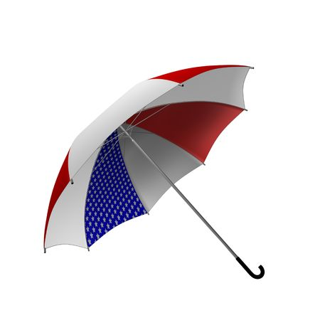 Umbrella with US flag colors 3d rendered photo