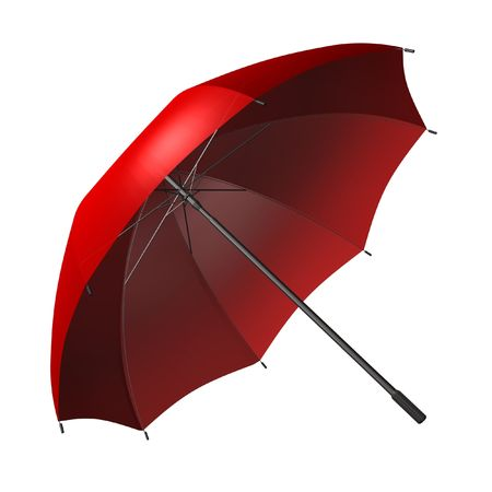 3d rendered opened red umbrella  photo