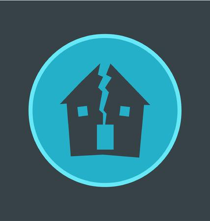 abandoned house: Vector illustration of abandoned house icon, flat round icon