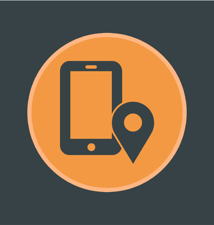 localization: Vector illustration of mobile localization icon, flat round icon