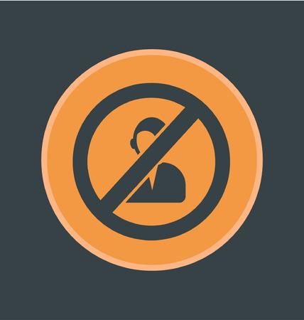 blocked: Vector illustration of blocked users icon, flat round icon
