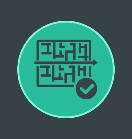 right path: Vector illustration of puzzle maze icon, flat round icon