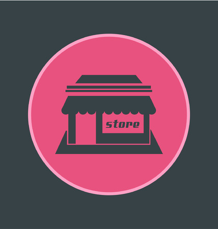 food store: Vector illustration of store icon, flat round icon