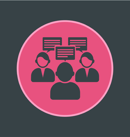 good judgment: Vector illustration of interview appointment icon, flat round icon