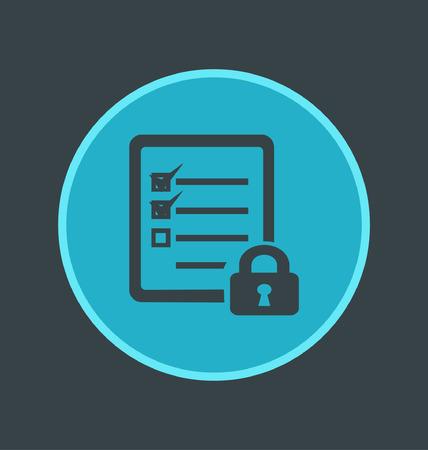 online form: Vector illustration of secure online form icon, flat round icon Illustration