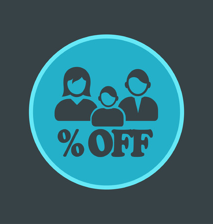 Vector illustration of family discounts icon, flat round icon