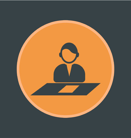 accords: Vector illustration of job interview icon, flat round icon