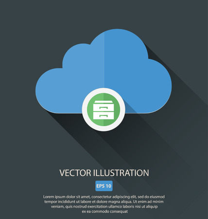 arow: Vector illustration of cloud with different symbols icon Illustration