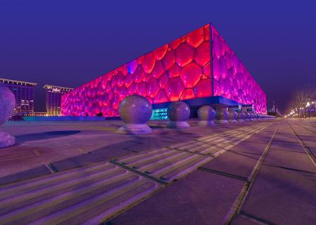Beijing National Aquatics Center (water cube) building landscape Editorial