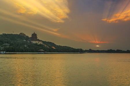 scenic spots: Architectural landscape of the Summer Palace in Beijing