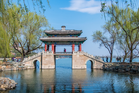 Architectural landscape of the Summer Palace mirror bridge in Beijing