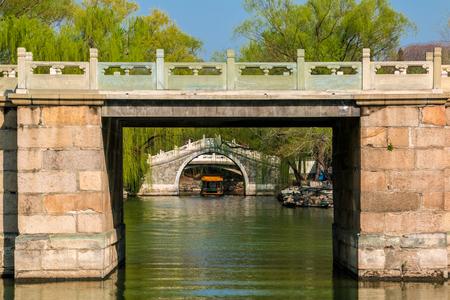 Beijing city the Summer Palace half bridge building landscape Stock Photo
