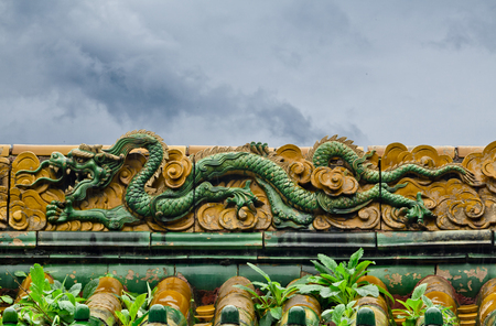 dragon carving ancient eaves in Beijing Beihai Park