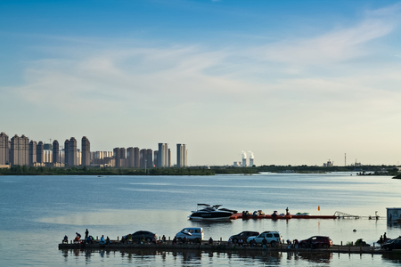The Bund architectural landscape of Songhua River, Harbin, Heilongjiang Editorial