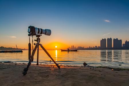 Camera landscape of songhua river in Harbin city, heilongjiang province Editorial