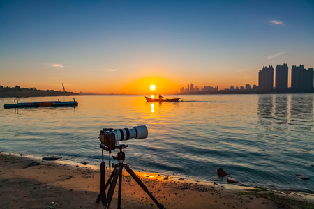 Camera landscape of songhua river in Harbin city, heilongjiang province Stock Photo