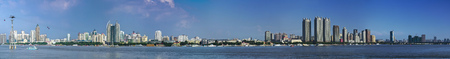 The landscape scenery view of a city at the Songhua River, Harbin, Heilongjiang Editorial