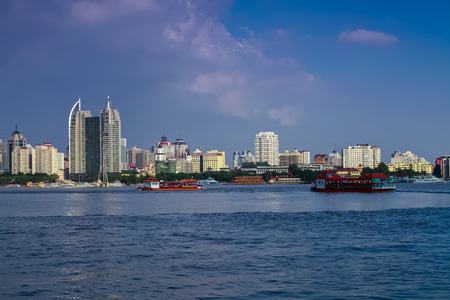 The Bund architectural landscape of Songhua River, Harbin, Heilongjiang Stock Photo