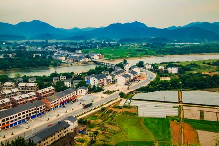 Urban architecture landscape of the Bund River Bund, Longhu Mountain, Yingtan City, Jiangxi Province