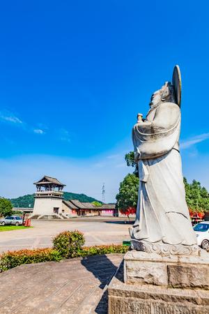 Architectural Landscape of Zhangtian Shi Taoist Statue in Shangqing Ancient Town, Longhu Mountain, Yingtan City, Jiangxi Province