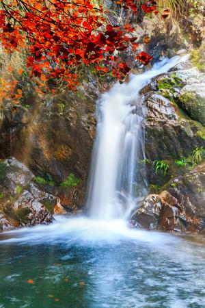 Natural Landscape of Sandie Waterfall in Tianmen Mountain, Yingtan City, Jiangxi Province 免版税图像