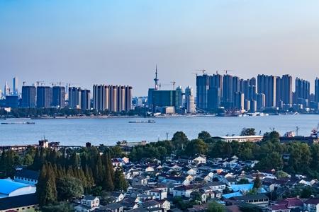 Urban architecture landscape of the Yangtze River Bund in Nanjing, Jiangsu Province