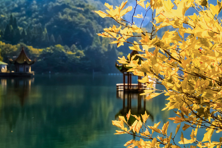 Natural Landscape of Lulin Lake in Laoshan Scenic Spot, Jiujiang City, Jiangxi Province 版權商用圖片