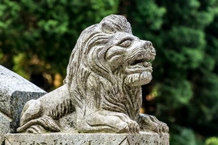 stone lion statue in Laoshan Scenic Area, Jiujiang City, Jiangxi Province