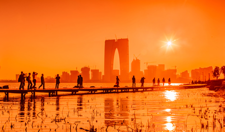 Landscape of Jinji Lake Bund in Suzhou City, Jiangsu Province