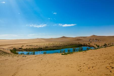 Yueliang Lake Wetland Scenery in Tengger Desert, Inner Mongolia 版權商用圖片 - 124434984