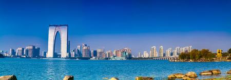 Landscape of Jinji Lake Bund in Suzhou City, Jiangsu Province