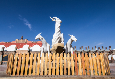 Inner Mongolia Tonghu Grassland Scenic Area White Sheep Sculpture