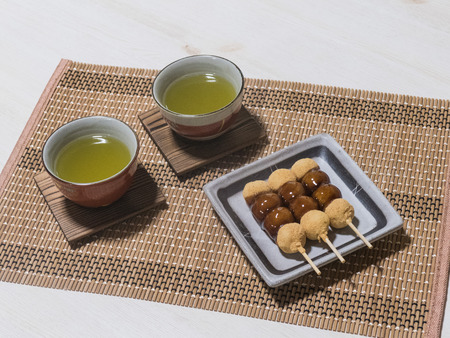 sencha tea: Japan and the Japanese-style confection Stock Photo