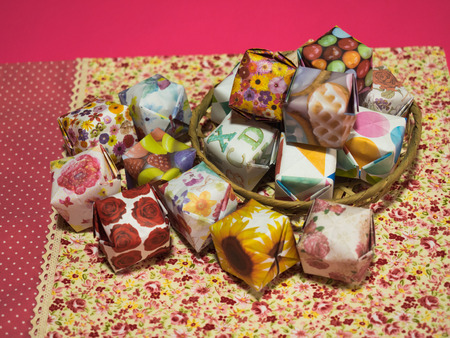 Colorful origami balloons