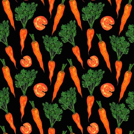 Carrots with tops in a seamless pattern. Orange bright watercolor carrot on a black background. For menu decoration, printing on fabric, design.