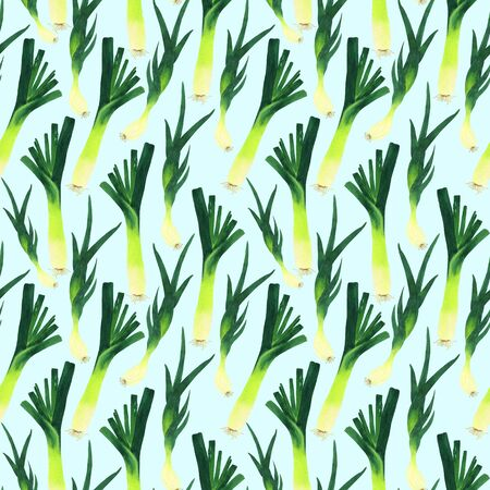 Leek and shallot in a seamless pattern. Watercolor green onions on a light blue background. Handmade illustration for the design of postcards, menu design, printing on fabric.