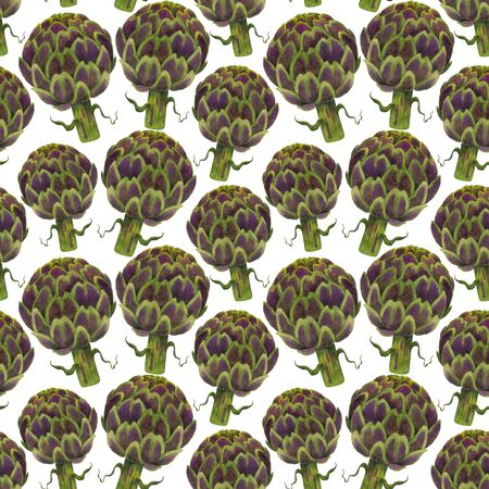 Fresh green artichokes seamless pattern. Watercolor vegetables on white background. For printing on fabric and cards. Фото со стока