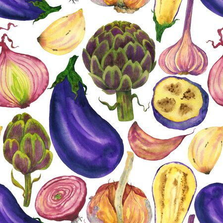 Purple vegetables seamless pattern: eggplant, garlic, artichoke and onion. Watercolor vegetables hand-drawing on a white background. For menu design, printing on fabric and paper. Фото со стока