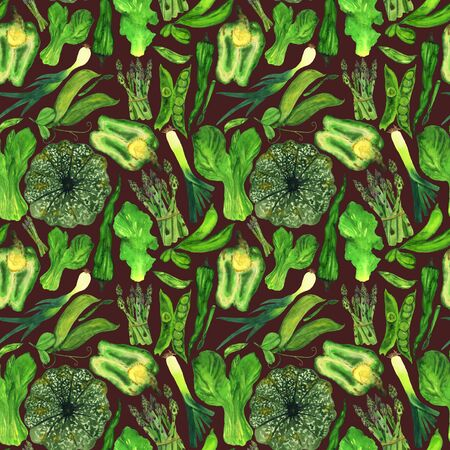 Watercolor green vegetables in a pattern on a brown background. Autumn harvest handmade illustration. For printing on fabric and cards, restaurant menu design. Фото со стока