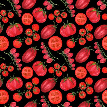 Red juicy ripe tomatoes in a seamless pattern. Red vegetables on a black background. Menu design, textile design, printing.