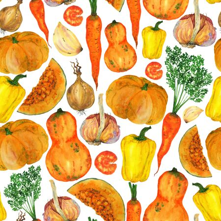 Seamless pattern of orange and yellow vegetables. Autumn harvest on a white background. For decoration and printing on fabric, postcards. Фото со стока